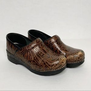 DANSKO Brown Leather Tooled Clogs